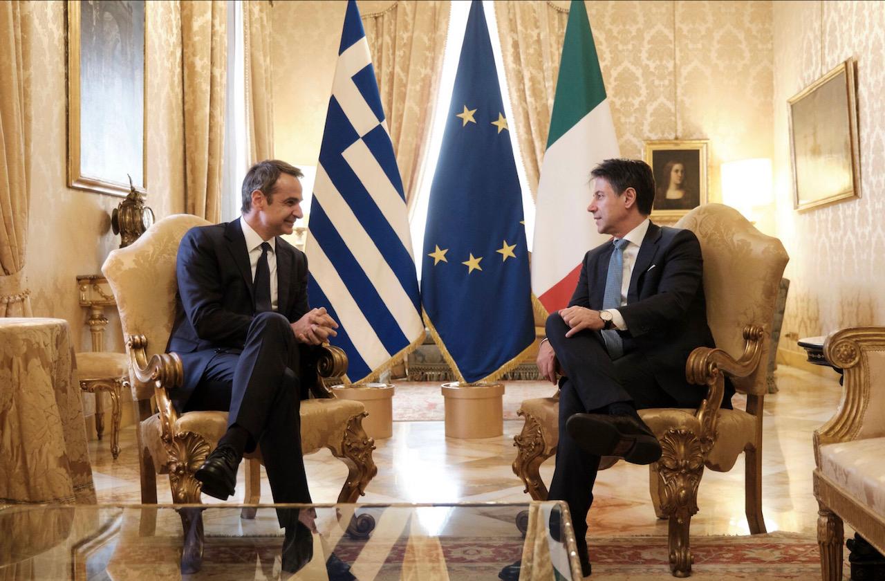 Conte-Mitsotakis talks focus on efforts to deepen Greek-Italian relations