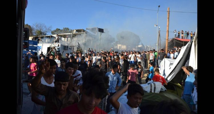 Refugees and immigrants protest in Lesvos and violence erupts