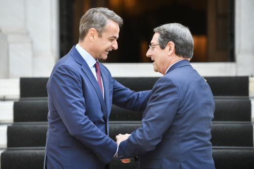 Cypriot President Nicos Anastasiades speaks on the phone with Greek PM Kyriakos Mitsotakis