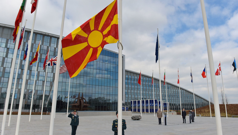 North Macedonia's flag raised at NATO Headquarters, following accession to NATO