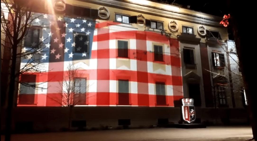 Albania: US flag covers Tirana City Hall as a show of solidarity