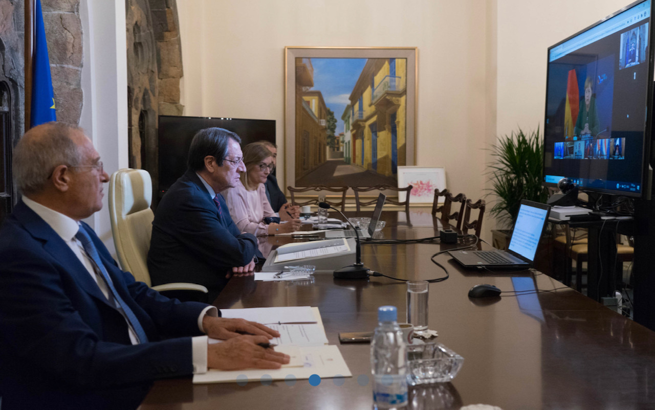 Cyprus: Anastasiades calls on EU to convey strong message to Turkey during video conference with Michel and Merkel