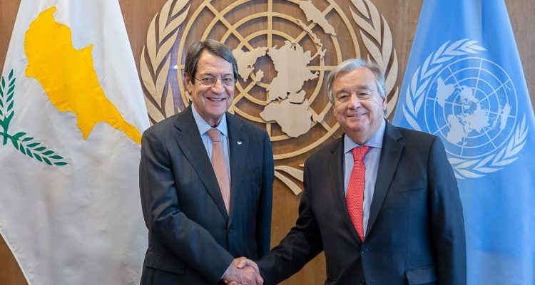 The President of Cyprus will meet with the UN Secretary General today