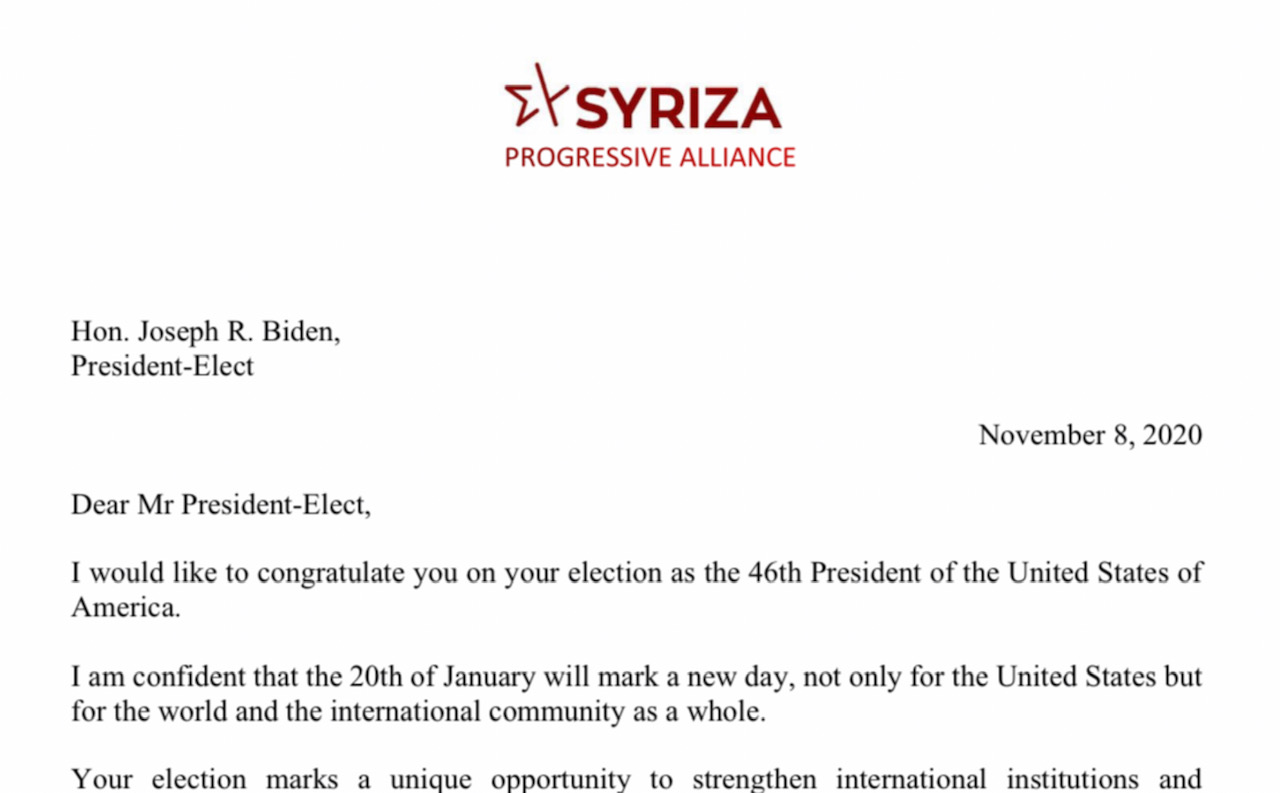 Congratulation letter from Alexis Tsipras to President-Elect Joe Biden
