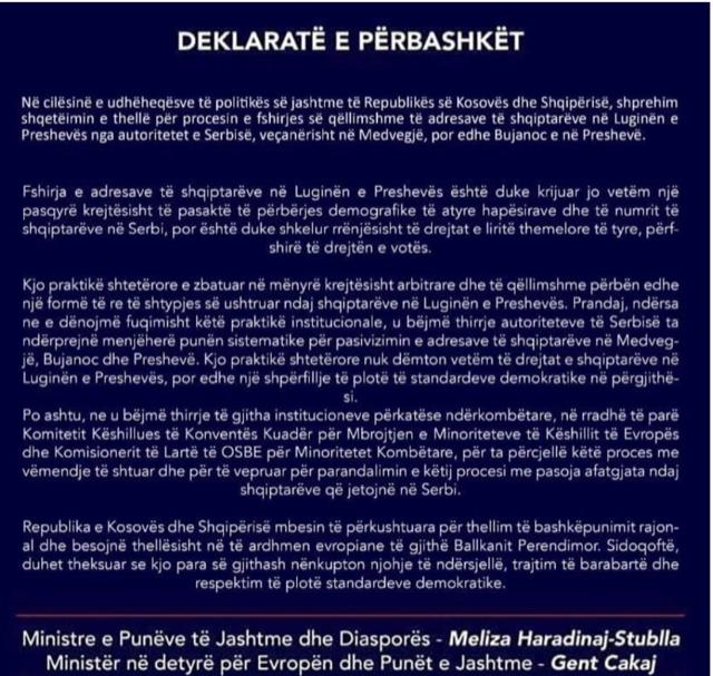 Albania-Kosovo issue Joint Statement on developments in Preševo Valley
