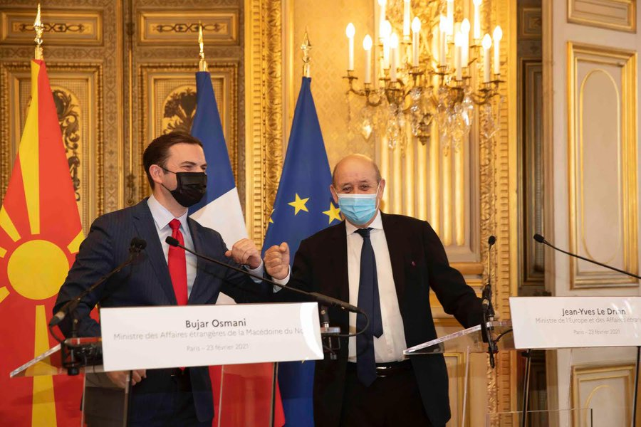 North Macedonia: Osmani meets Le Drian in Paris