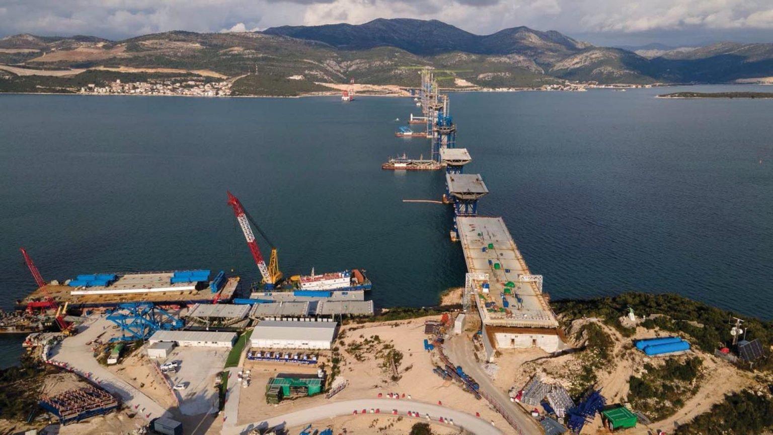Croatia: Pelješac bridge structure rises above sea levels