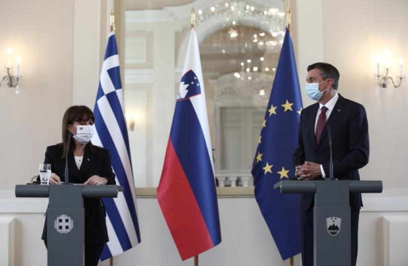 Greek President Katerina Sakellaropoulou on an official visit to Slovenia