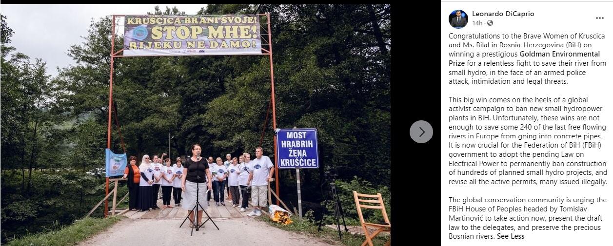 BiH: DiCaprio urged F BiH authorities to ban small HPPs