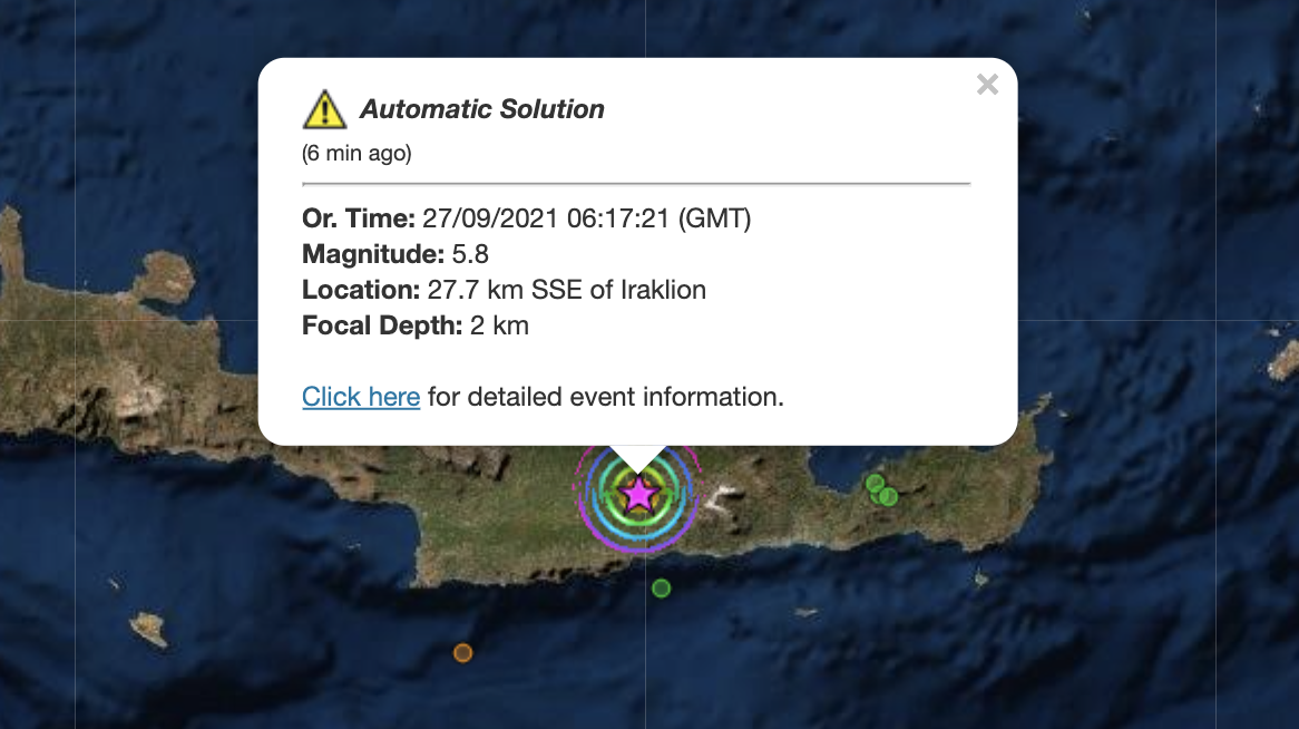 Greece: Strong 5.8 earthquake in Crete with one dead