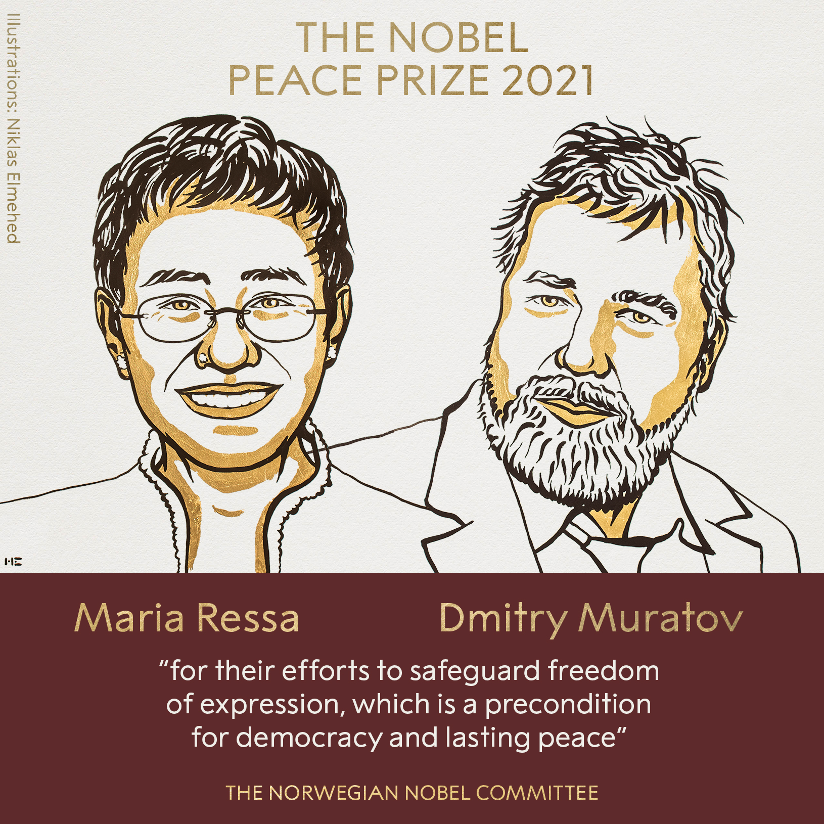 Journalists Maria Ressa and Dmitry Muratov receive the 2021 Nobel Peace Prize
