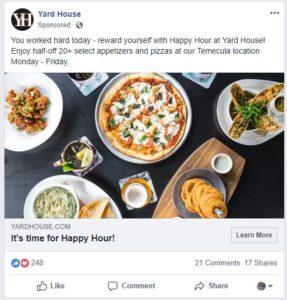 ushqimi pizza reklame ne facebook