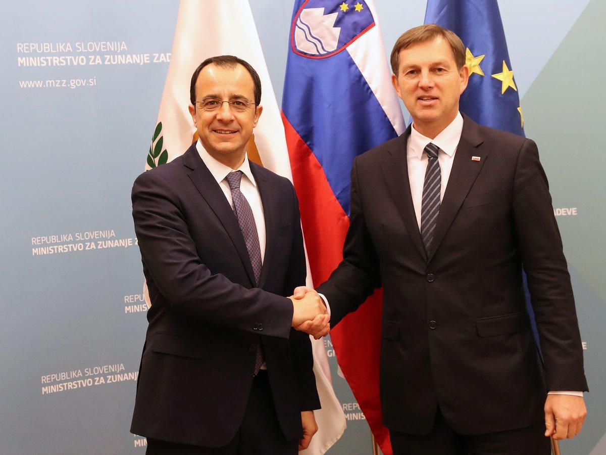 Την ενίσχυση των διμερών σχέσεων Κύπρου Σλοβενίας συμφώνησαν οι ΥΠΕΞ