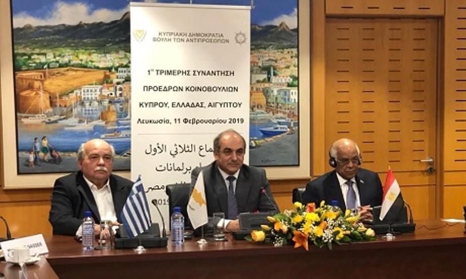 Πραγματοποιήθηκε στην Κύπρο η 1η Τριμερής Συνάντηση των Προέδρων των Κοινοβουλίων Κύπρου Ελλάδας και Αιγύπτου