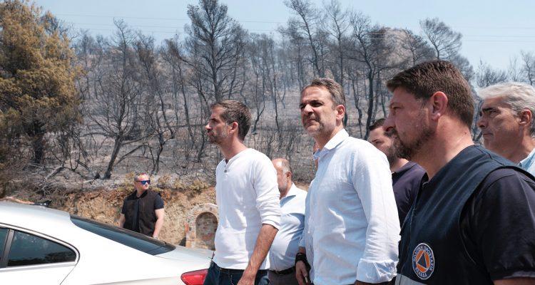 Στην πυρόπληκτη Εύβοια βρέθηκε ο Πρωθυπουργός