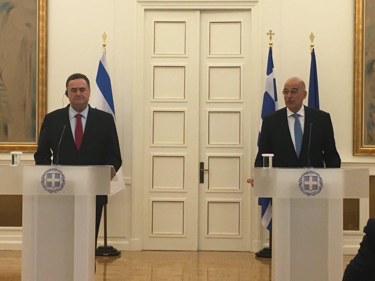 Τις σημαντικές και στενές σχέσεις Ελλάδας Ισραήλ επιβεβαίωσαν Δένδιας Katz