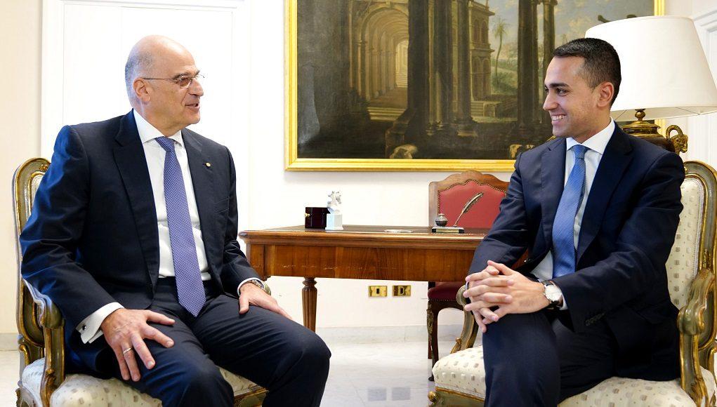 Συνάντηση Δένδια, Di Maio – Παράνομα και ανυπόστατα τα memoranda Τουρκίας-Λιβύης