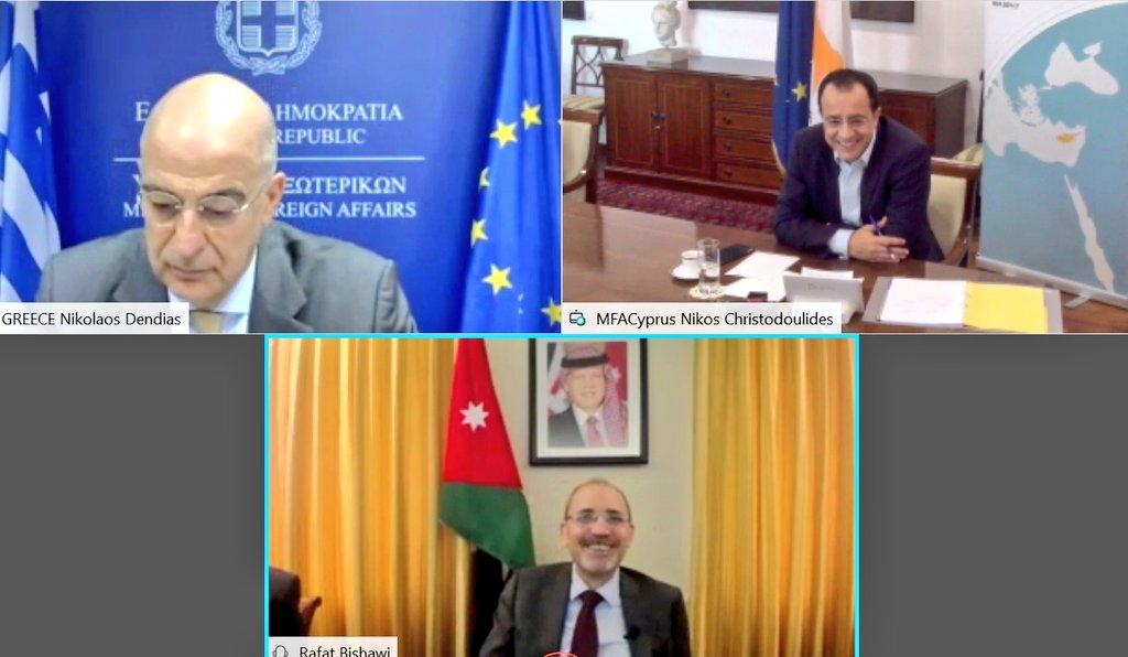 Τριμερής τηλεδιάσκεψη ΥΠ.ΕΞ Ελλάδας, Κύπρου και Ιορδανίας