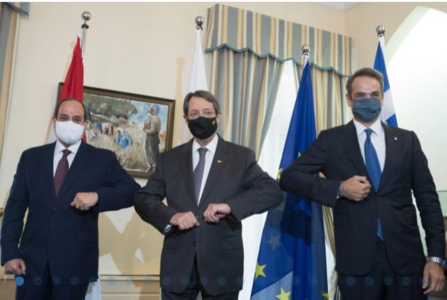 Κύπρος: Ενίσχυση της τριμερούς συνεργασίας και καταδίκη της Τουρκίας από Αναστασιάδη, El-Sisi και Μητσοτάκη