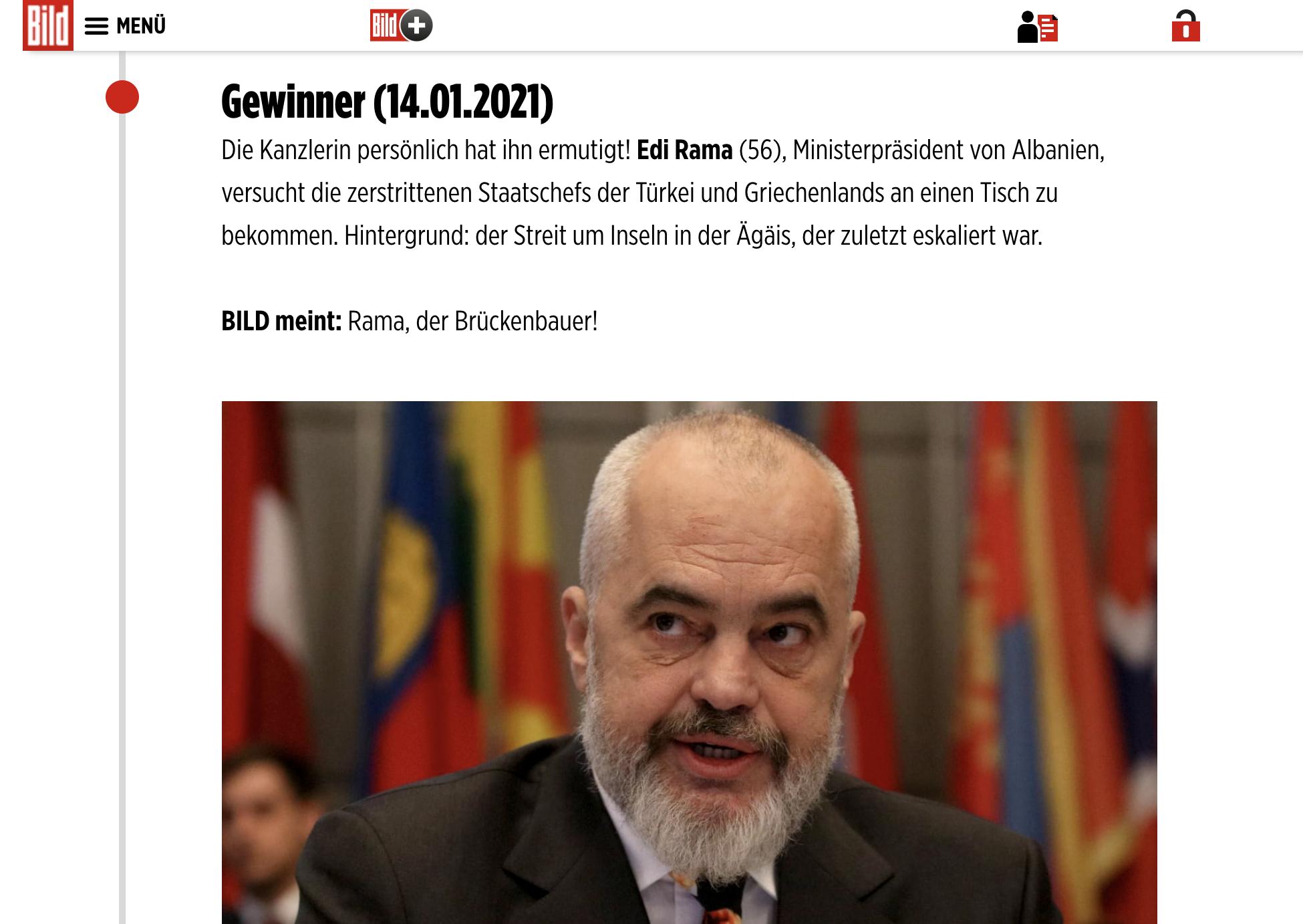 Αλβανία: Γεφυροποιό χαρακτηρίζει η Bild τον Rama στον ελληνοτουρκικό διάλογο
