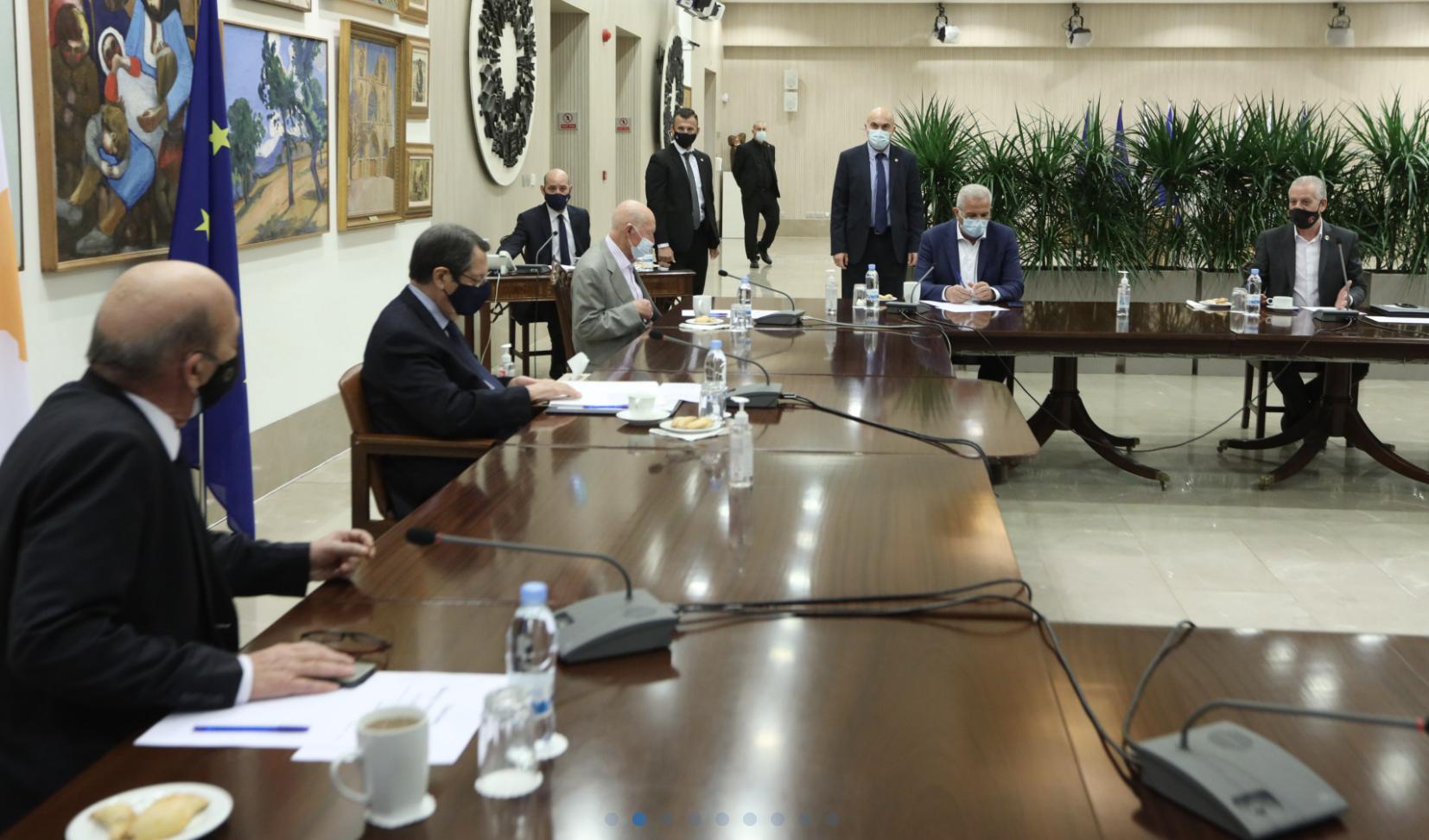 Κύπρος: Ενημέρωσε του πολιτικούς αρχηγούς ο Αναστασιάδης για τις εξελίξεις στο Κυπριακό