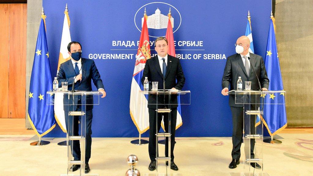 Σερβία: Πραγματοποιήθηκε τριμερής συνάντηση των ΥΠΕΞ Σερβίας, Ελλάδας και Κύπρου