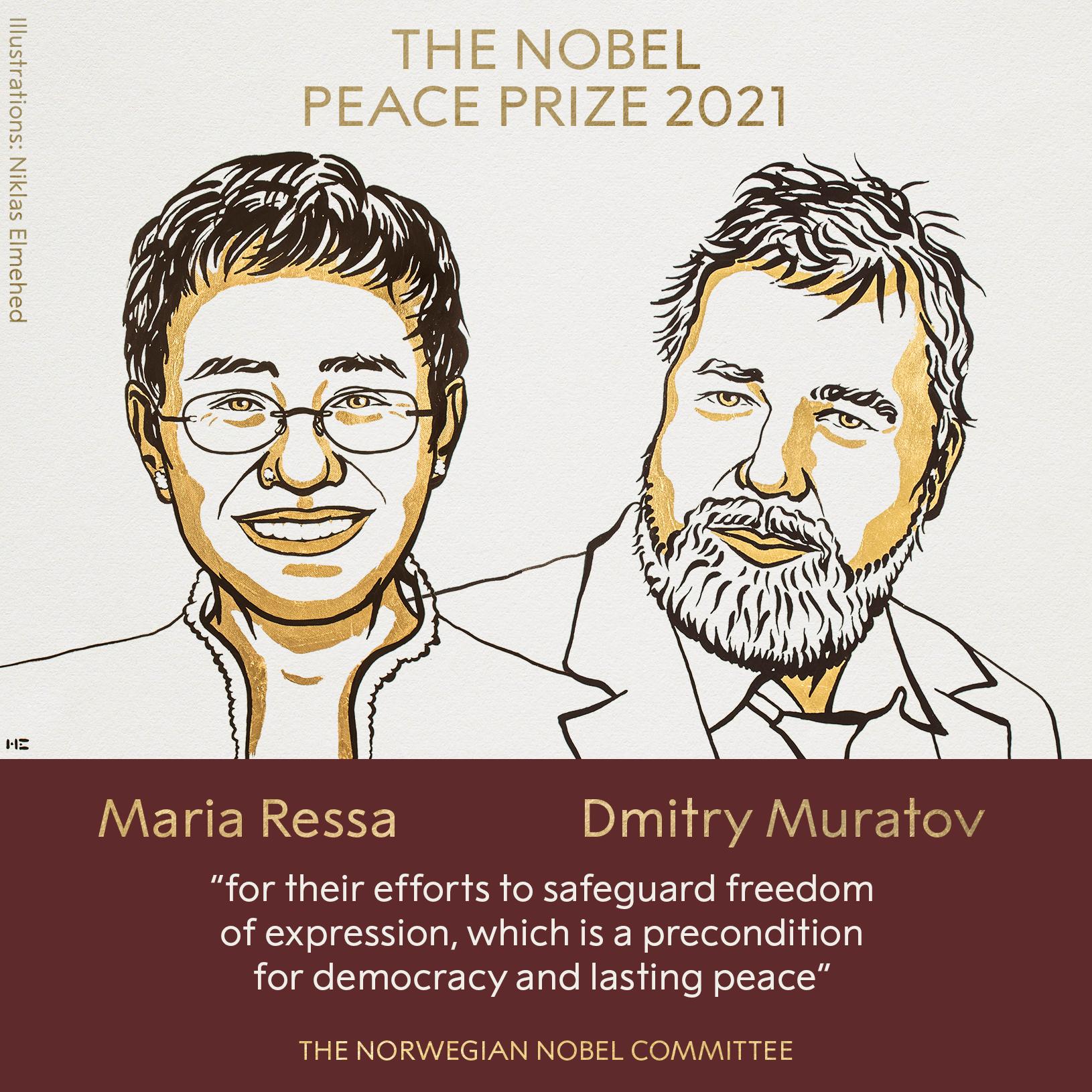 Στους δημοσιογράφους Maria Ressa και Dmitry Muratov το Νόμπελ Ειρήνης 2021