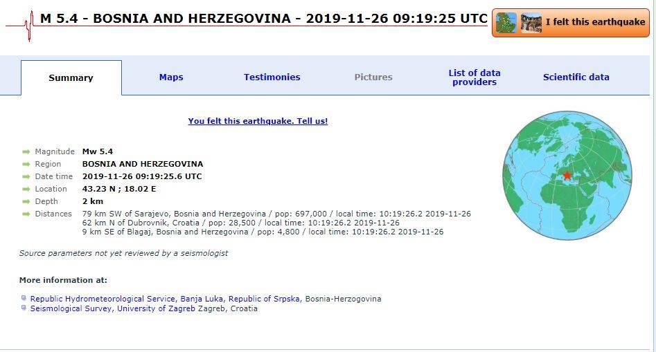 Nekoliko zgrada u BiH oštećeno u zemljotresu