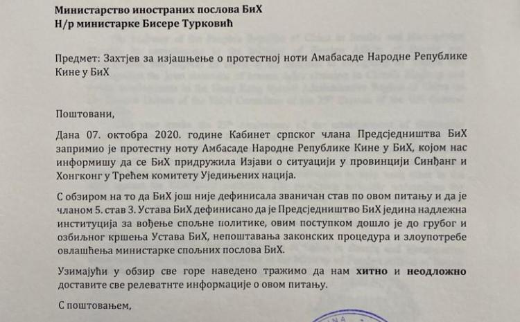 BiH: Ambasada Kine u BiH uputila protestno pismo ministru spoljnih poslova Biseri Turković