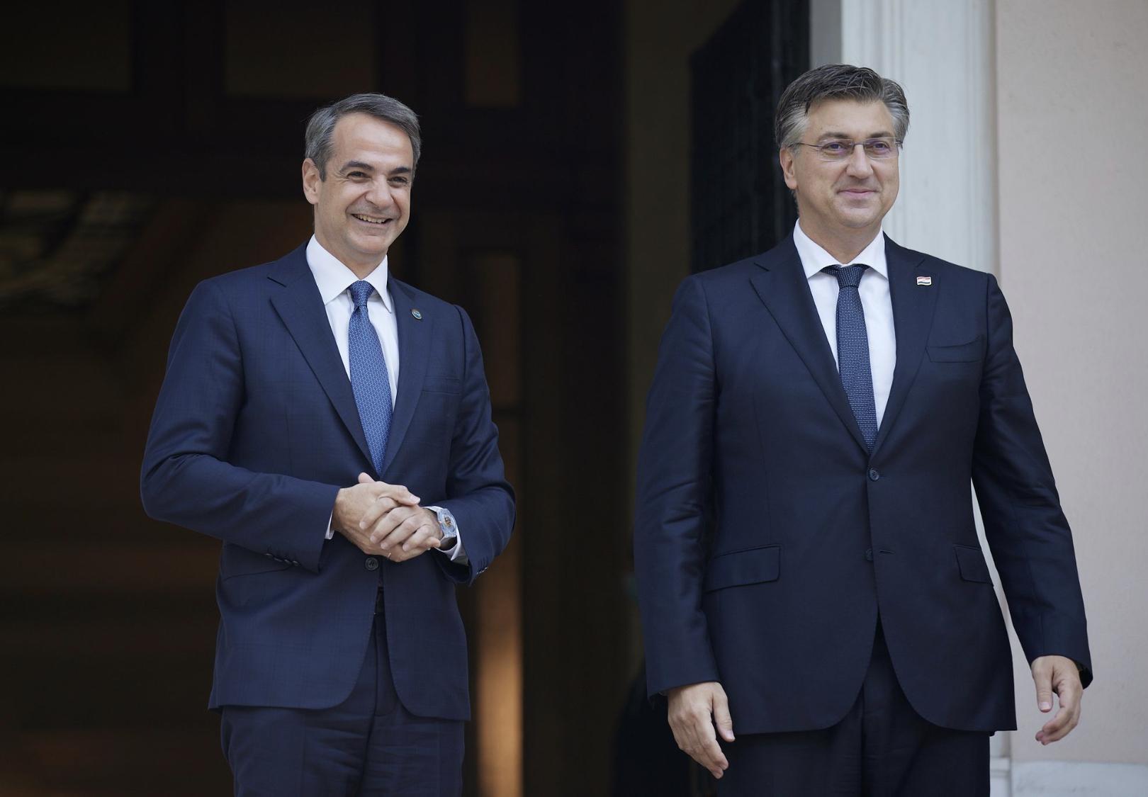 Grčki premijer Mitsotakis u Atini razgovarao sa hrvatskim premijerom Plenkovićem
